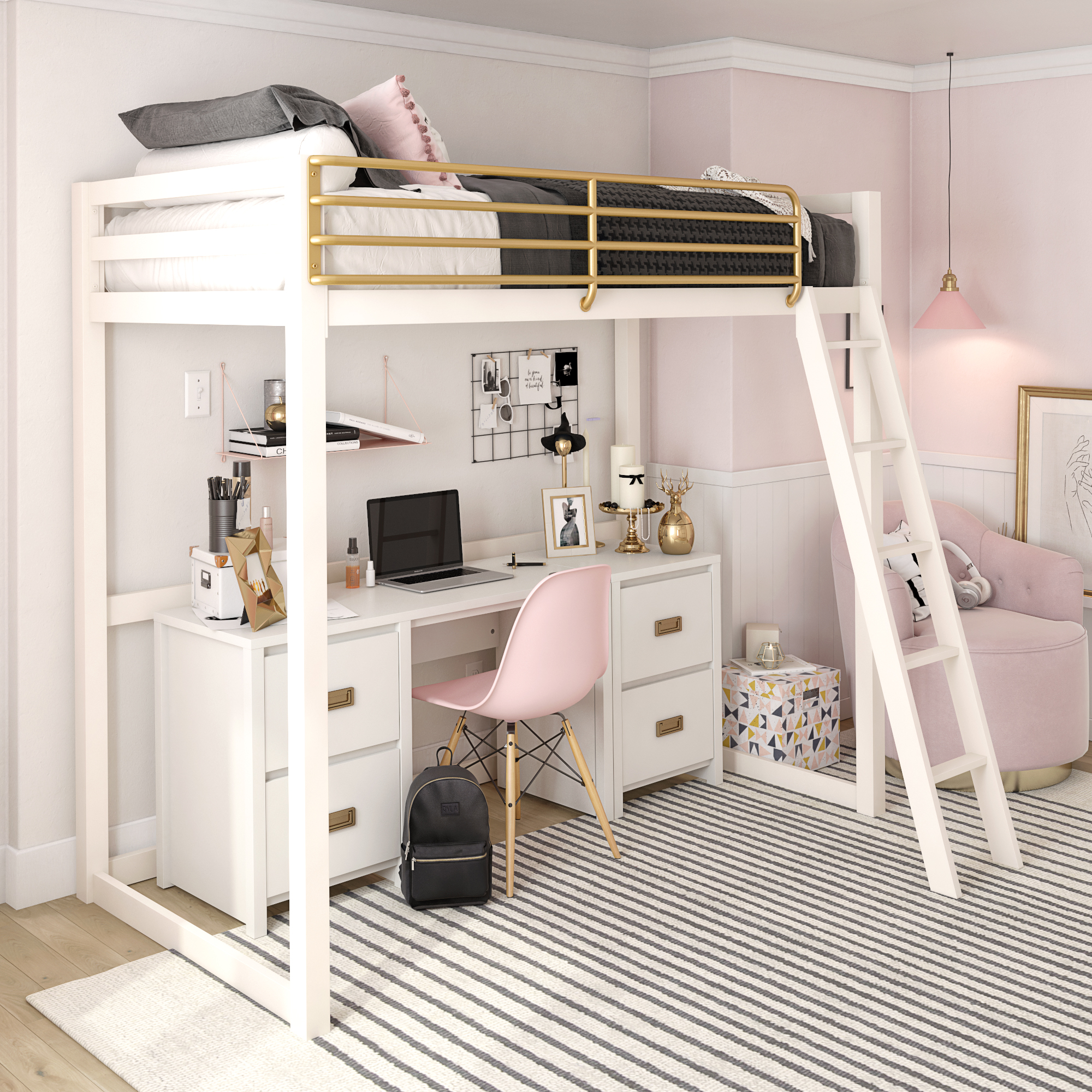 Monarch Hill Haven White And Gold Twin Metal Loft Bed Little Seeds